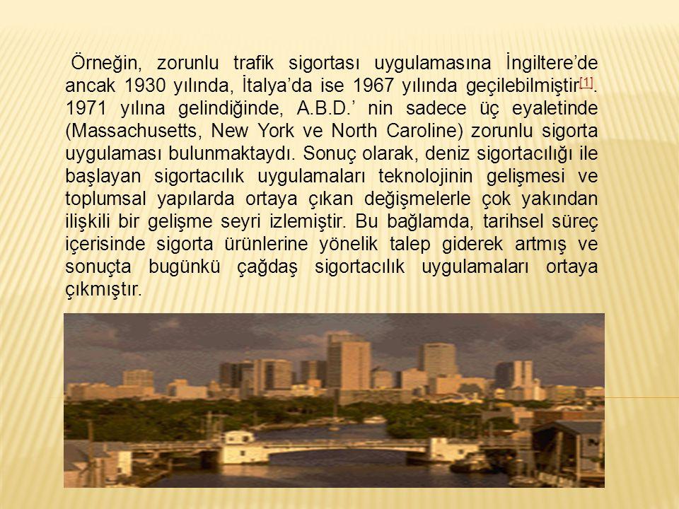 Örneğin, zorunlu trafik sigortası uygulamasına İngiltere'de ancak 1930 yılında, İtalya'da ise 1967 yılında geçilebilmiştir[1].